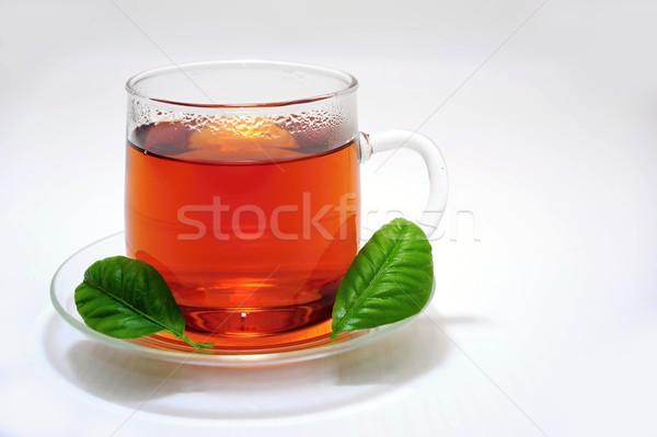 カップ 茶 ガラス プレート ドリンク 黒 ストックフォト © ondrej83