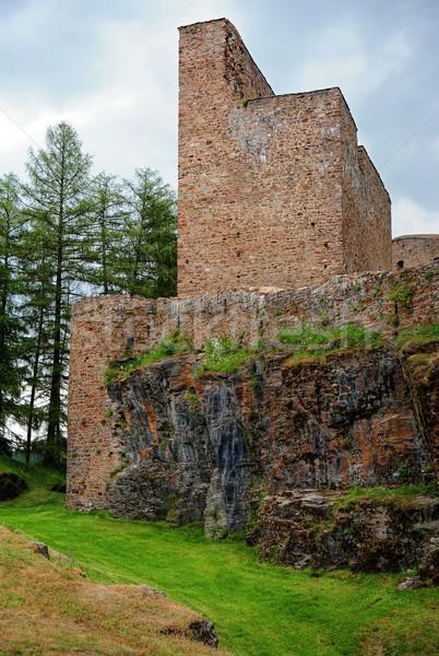 Edad ruinas piedra hierba verde cielo nubes Foto stock © ondrej83