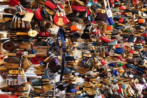 Foto stock: Grande · número · casamento · amor · segurança · ponte