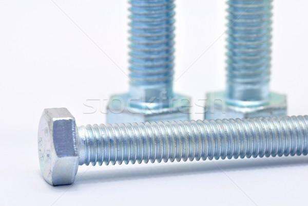 üç çelik vida galvanize beyaz endüstriyel Stok fotoğraf © ondrej83