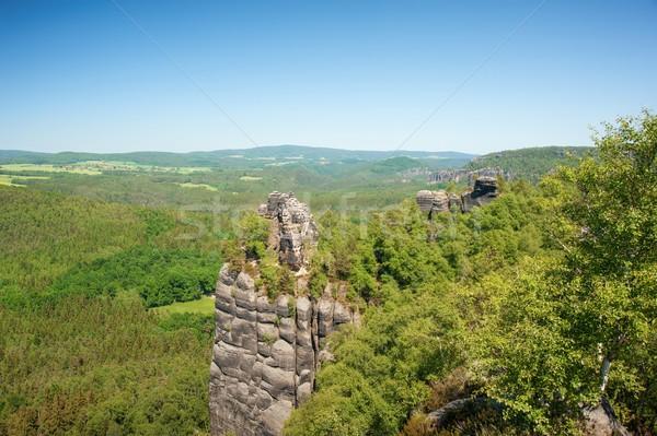 Kumtaşı kayalar mavi gökyüzü Çek İsviçre doğa Stok fotoğraf © ondrej83