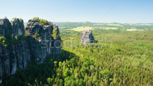 Kumtaşı kayalar mavi gökyüzü Almanya İsviçre doğa Stok fotoğraf © ondrej83