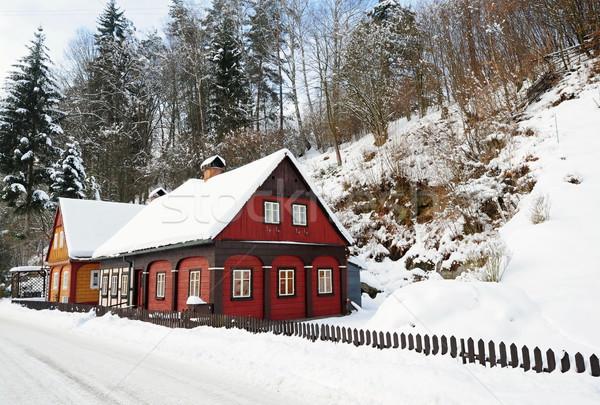 Winter hamlet of Bohemian Switzerland Stock photo © ondrej83