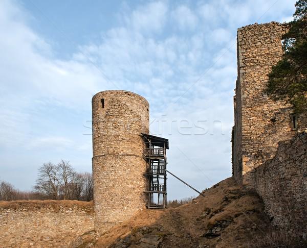 Romok öreg kastély Csehország épület tájkép Stock fotó © ondrej83