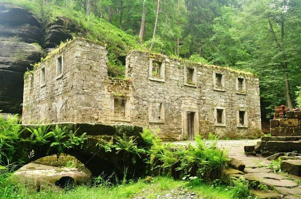 Starych młyn rzeki przeciwmgielne domu budynku Zdjęcia stock © ondrej83
