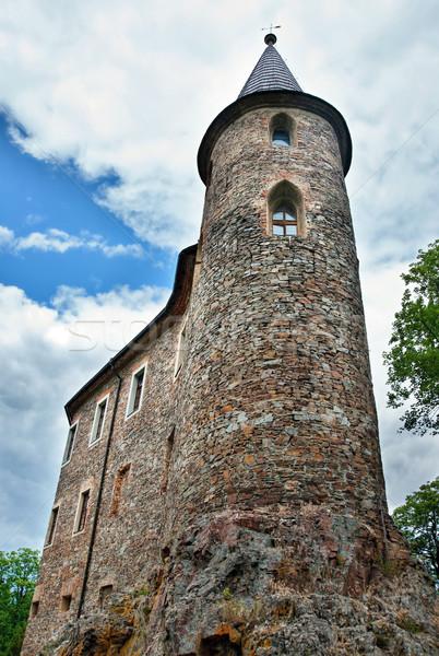 старые замок высокий рок небе облака Сток-фото © ondrej83