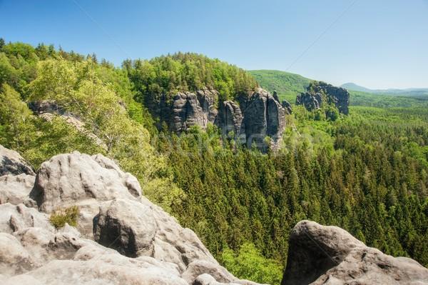 Zandsteen rotsen blauwe hemel tsjechisch Zwitserland hemel Stockfoto © ondrej83