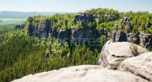 Homokkő kövek kék ég cseh Svájc természet Stock fotó © ondrej83