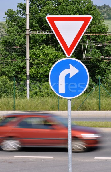 Moving car and traffic signs Stock photo © ondrej83