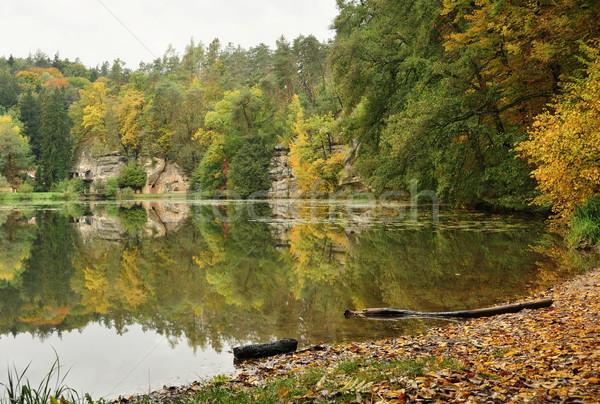 Jesienią jezioro powierzchnia krajobraz niebo Zdjęcia stock © ondrej83
