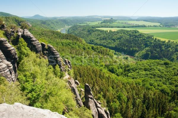 Arenisca rocas cielo azul Alemania Suiza cielo Foto stock © ondrej83