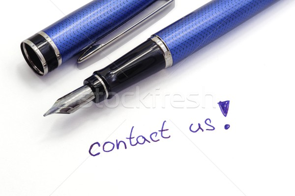 Kapcsolatfelvétel jegyzet fehér kék tinta toll Stock fotó © ondrej83