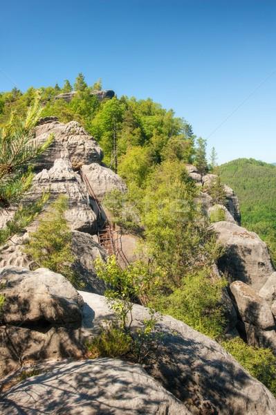 Arenito rochas blue sky tcheco Suíça natureza Foto stock © ondrej83