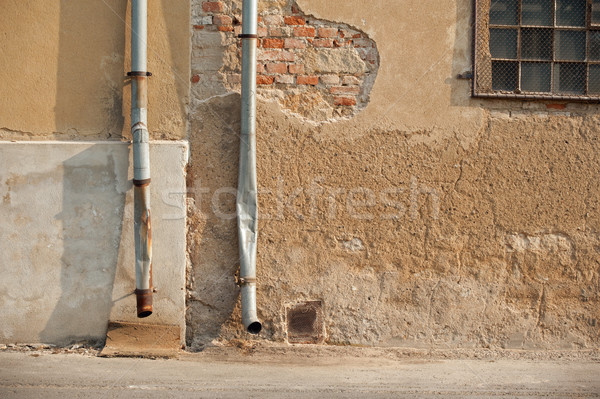 Two drainpipe on house Stock photo © ondrej83