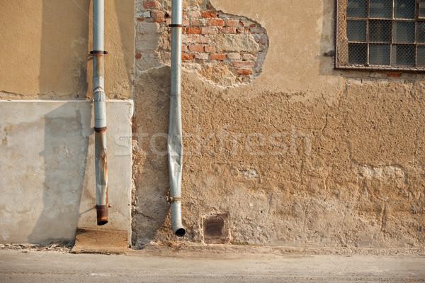 Twee huis oude steen bouw achtergrond Stockfoto © ondrej83