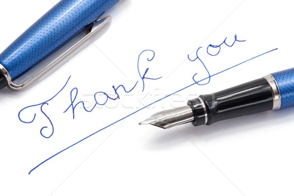 Grazie nota bianco blu inchiostro carta Foto d'archivio © ondrej83