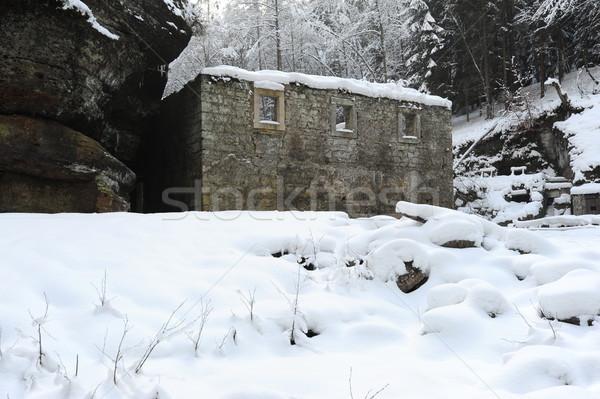 зима старые мельница чешский Швейцария снега Сток-фото © ondrej83