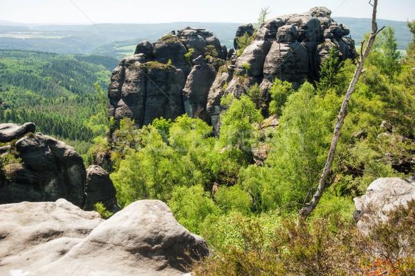 Arenisca rocas cielo azul checo Suiza naturaleza Foto stock © ondrej83