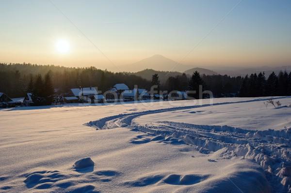 зима Панорама чешский Швейцария снега мороз Сток-фото © ondrej83