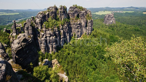 A view of schrammsteine and forests in Saxon Switzerland Stock photo © ondrej83