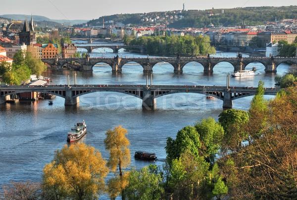 Köprüler görmek ufuk çizgisi su bahar Bina Stok fotoğraf © ondrej83