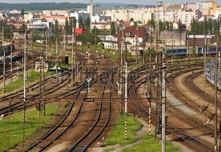 Stacja kolejowa panorama pociągu niebo budynku Zdjęcia stock © ondrej83