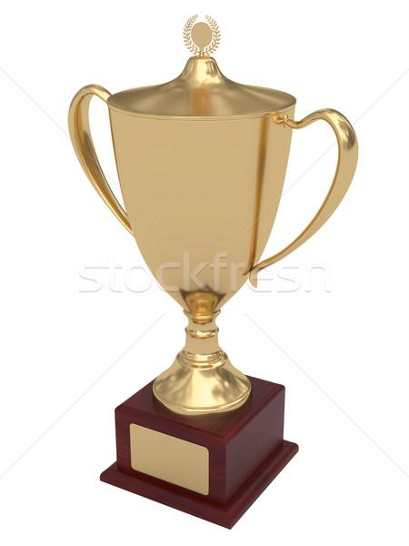 Or trophée tasse bois or plaque Photo stock © oneo