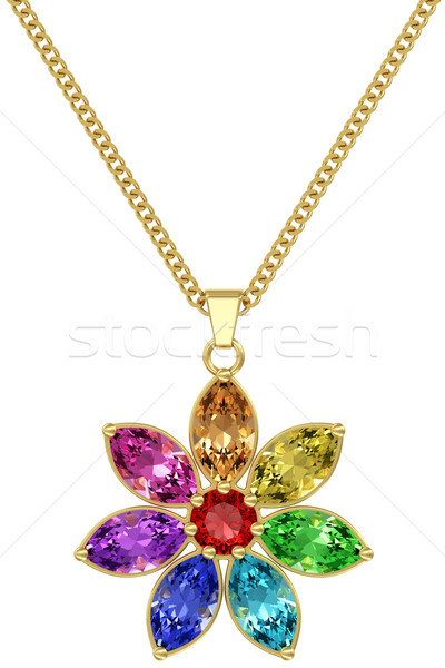Gold pendant with colorful gemstones on chain isolated on white background Stock photo © oneo