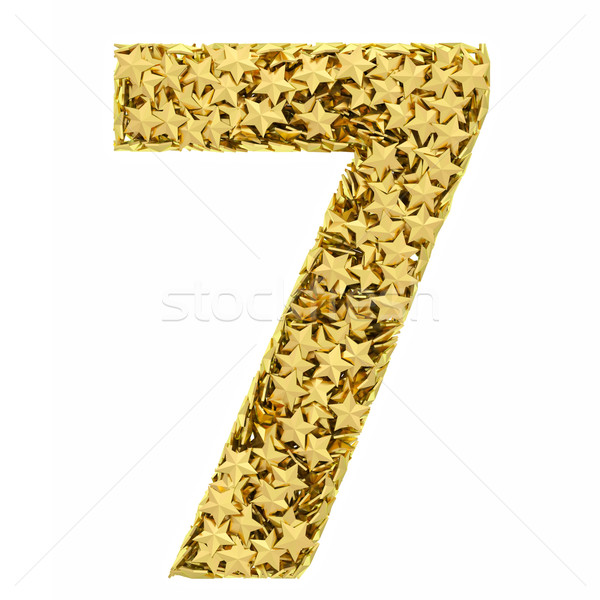 Number 7 composed of golden stars isolated on white Stock photo © oneo