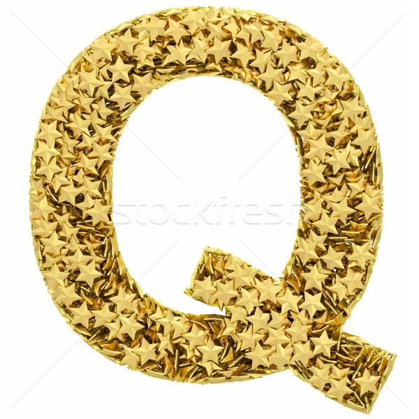 Q betű arany csillagok izolált fehér magas Stock fotó © oneo