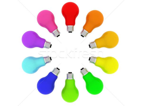 Lightbulbs kaleidoscope of rainbow colours Stock photo © oneo
