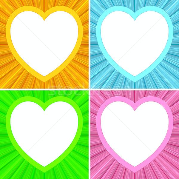 набор сердце кадры красочный высокий Сток-фото © oneo