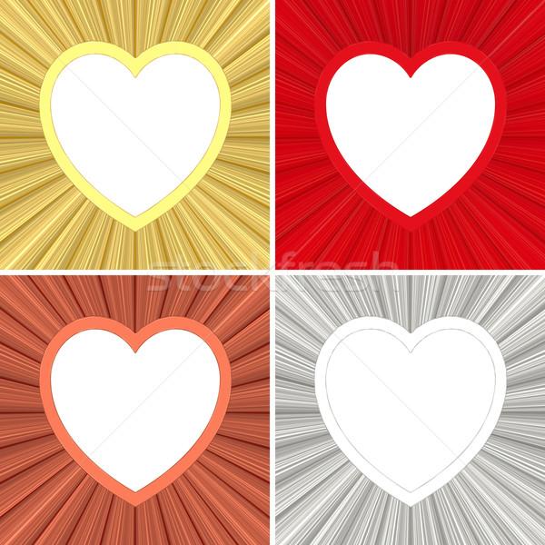 Coeur coloré cadres métallique Photo stock © oneo