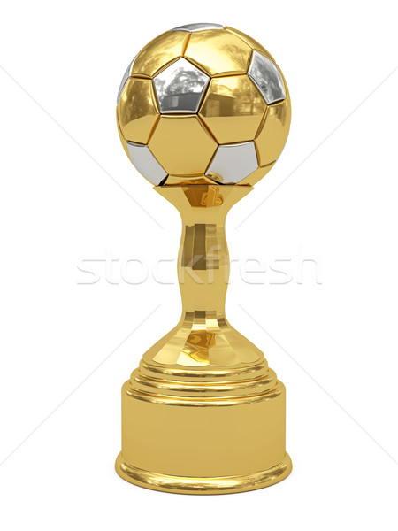 Golden soccer ball trophy on pedestal Stock photo © oneo