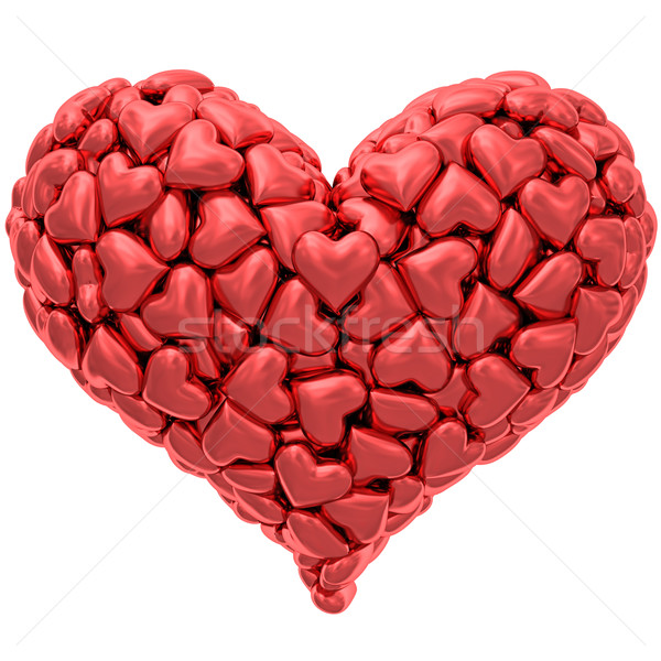 Heart shape composed of many red hearts isolated on white Stock photo © oneo