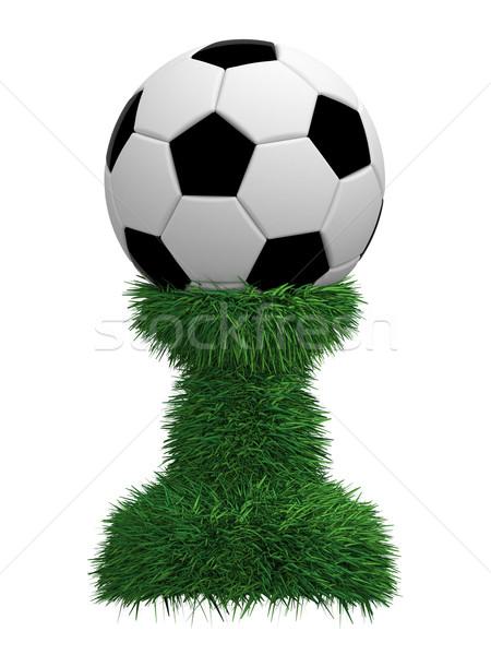 Ballon trophée herbe verte isolé blanche élevé Photo stock © oneo