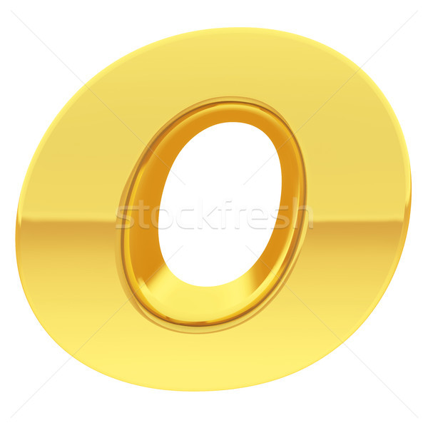 Gold alphabet symbol letter O with gradient reflections isolated on white Stock photo © oneo