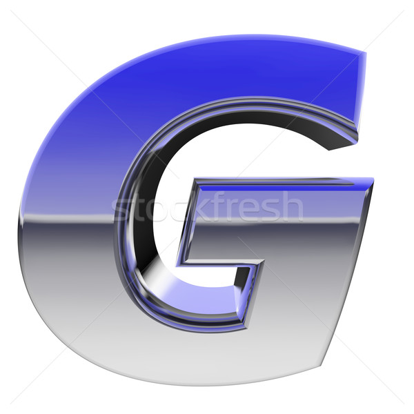 Chrome alphabet symbol letter G with color gradient reflections isolated on white Stock photo © oneo