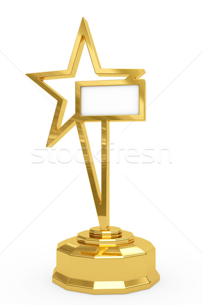 Golden star prize on pedestal with blank white plate Stock photo © oneo