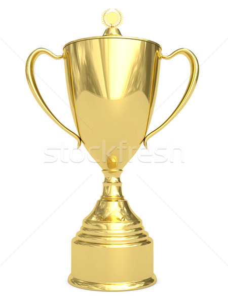 Stock photo: Golden trophy cup on white