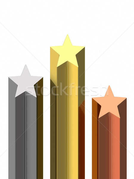 Golden, silver and bronze stars pedestal Stock photo © oneo