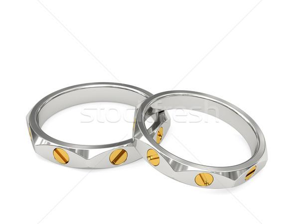 白 黄色 金 排他的な 結婚指輪 高い ストックフォト © oneo