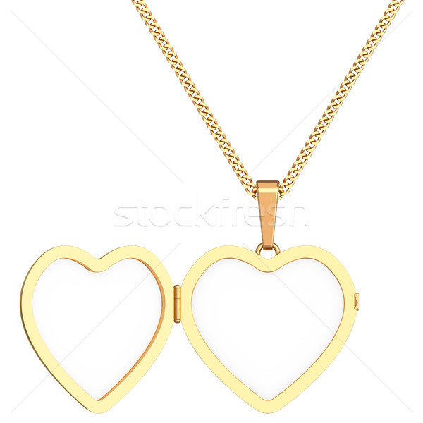 Gold heart shaped locket on chain isolated on white Stock photo © oneo