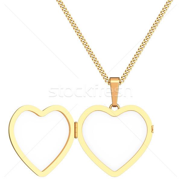 Goud hart keten geïsoleerd witte Stockfoto © oneo