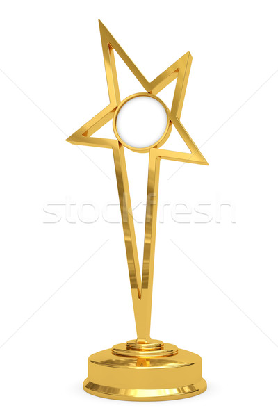 Golden star prize on pedestal with blank round plate Stock photo © oneo