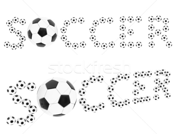 Stock photo: Soccer words composed of soccer balls