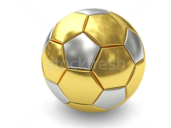 Gold soccer ball on white background Stock photo © oneo