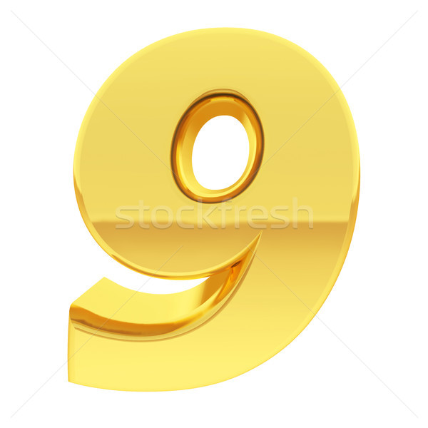 Gold number 9 with gradient reflections isolated on white Stock photo © oneo