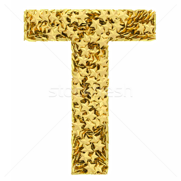 Letter T composed of golden stars isolated on white Stock photo © oneo