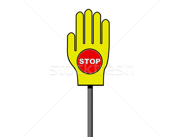 Stop Palm signe avertissement isolé blanche Photo stock © oneo